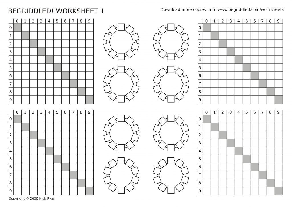 Begriddled logic puzzle worksheet 1